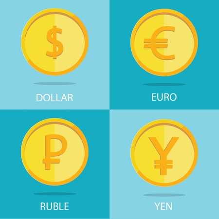 cash icon: vector set of gold coins on colorful background, euro, dollar, ruble, yen Illustration