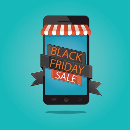 mega phone: vector illustration of black friday sale, online store Illustration