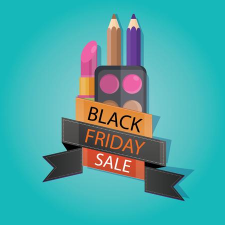 mega phone: vector illustration of black friday sale, cosmetic store, lipstick, eyeliner