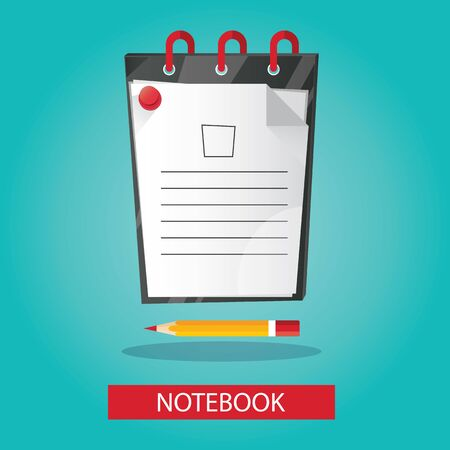brightness: vector illustration of brightness notebook with pencil on colorful background