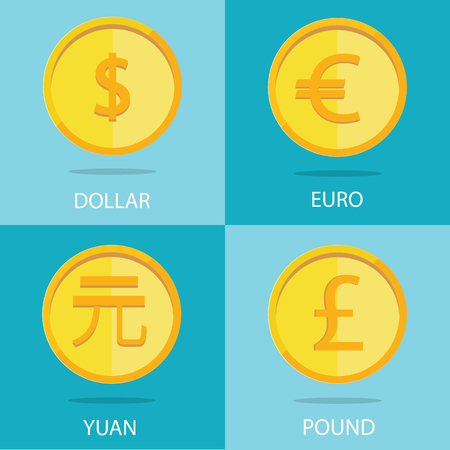 dime: vector set of gold coins on colorful background, euro, dollar, yuan, pound