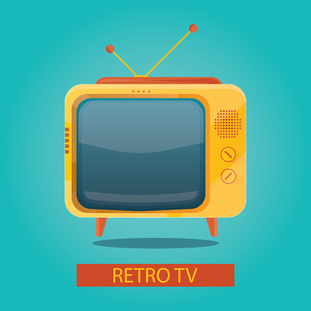 outmoded: vector illustration of yellow retro tv on blue background Illustration