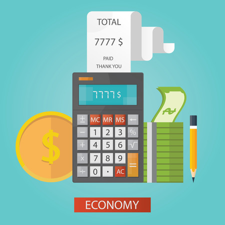 economy financial: vector illustration of global economy financial adviser, calculator with cash
