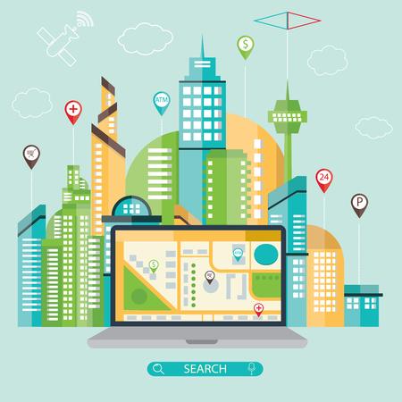 navigational: modern vector illustration of mobile navigation with navigational elements and symbol