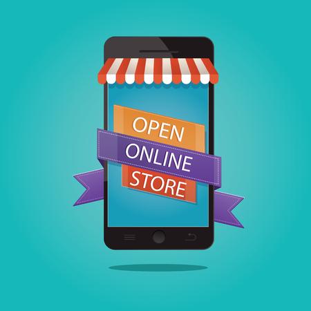 brand new: Modern vector illustration of brand new store, grand opening