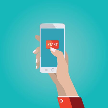 start button: Modern vector illustration of hand with smart phone, touch interface with start button, hand using and touching screen