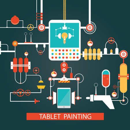 Modern vector of tablet painting technology, development process for smart phone