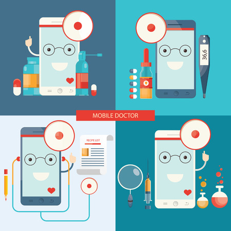 Modern vector set of mobile doctor, healthcare.
