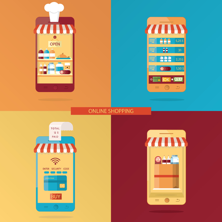 Modern vector set of Online shopping, online food delivery