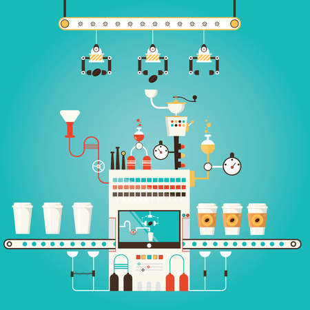 drinking coffee: Modern vector illustration of coffee factory, coffee industry