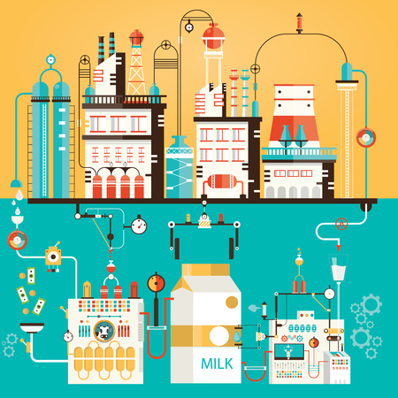 Modern vector illustration of milk industry, milk manufacturing, milk selling, factory of milk