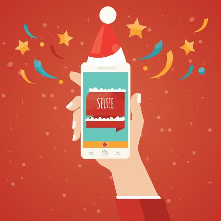 people smile: Modern vector illustration of selfie, taking Selfie Photo on Smart Phone, christmas selfie