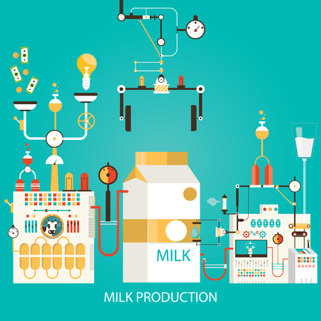 Modern vector illustration of milk production. Factory of milk. Çizim
