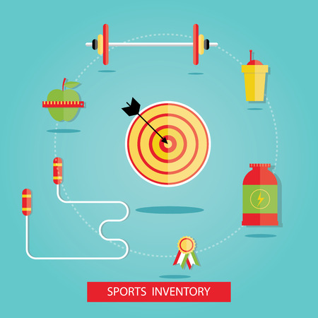 Modern vector illustration of sport equipments, sports inventory