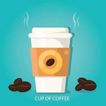 modern vector illustration of cup of coffee cup of coffee with beans