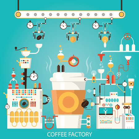 Modern vector illustration of coffee factory, coffee industry