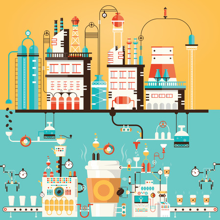 industrial factory: Modern vector illustration of coffee factory, coffee industry