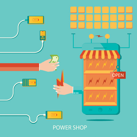 Modern vector illustration of solar plant, energy shop, manufacturing of energy