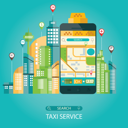 Modern vector illustration of taxi service, taxi mobile application