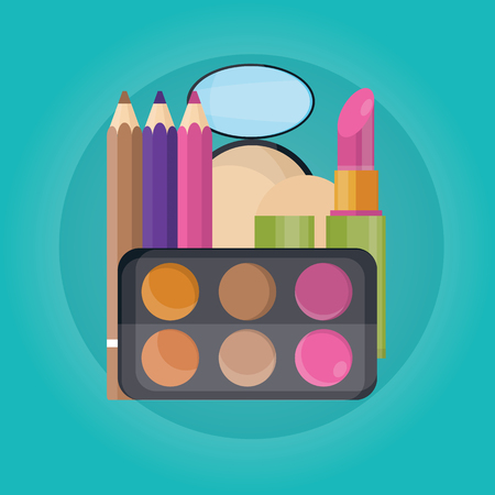 Modern vector illustration of cosmetic set, lipstick, eyebrown. powder