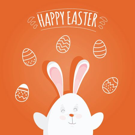 Modern vector illustration of Colorful Happy Easter with eggs and rabbits