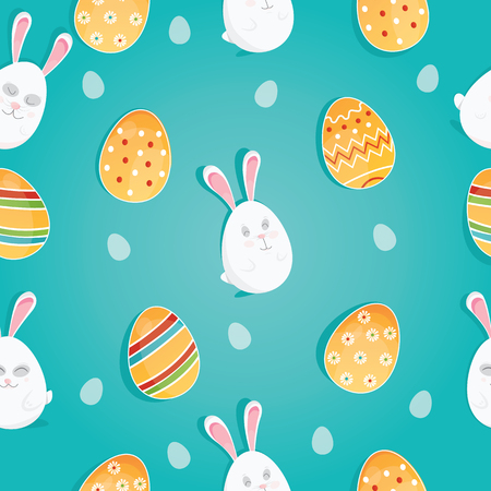 Vector seamless doodle easter pattern with Easter eggs for easter background