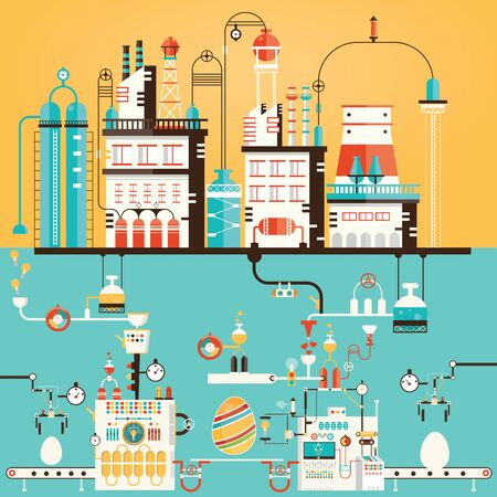 Modern vector illustration of Colorful happy easter factory. Industry of eggs.