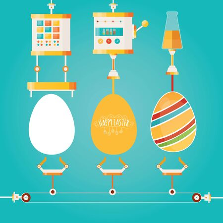 Modern vector illustration of Colorful Happy Easter factory. Industry of eggs