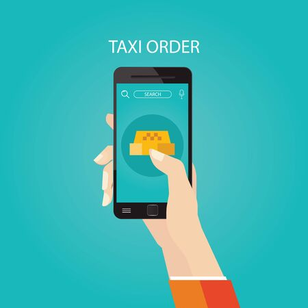 Modern vector illustration of booking taxi via mobile app