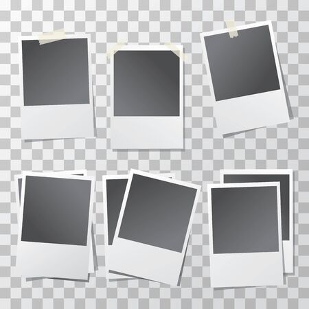 photography backdrop: Modern vector illustration of photo frame set with adhesive tapes. Photo realistic. Stock Photo