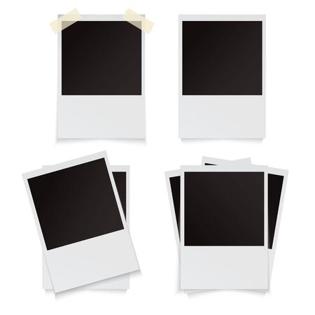 Modern vector illustration of photo frame set with adhesive tapes. Photo realistic. Banco de Imagens