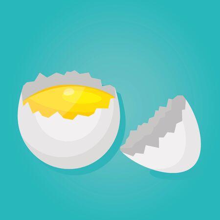 Modern vector illustration of Raw and broken chicken eggs. Broken egg shells. Cooking eggs. Healthy food. Фото со стока - 132059865