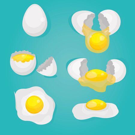 Modern vector illustration of Raw and broken chicken set eggs. Broken shells, scrambled, boiled. Cooking eggs. Healthy food. Фото со стока