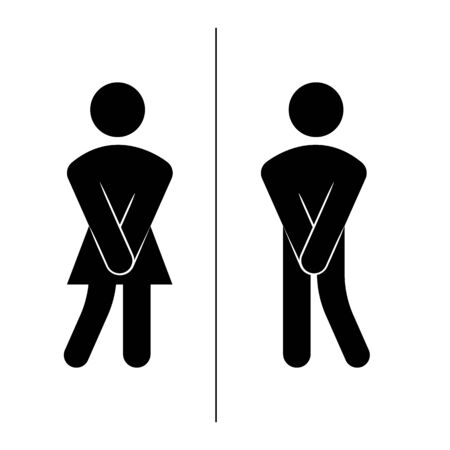 Modern vector illustration of restrooms man and women sign icon. Girls and boys toilet symbols, fun signs for bathroom door.