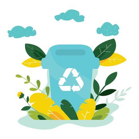 Concetto di ecologia. Proteggi la bandiera della natura e dell'ecologia. Giorno della Terra. Contenitore della spazzatura con alberi, piante. Illustrazione vettoriale.
