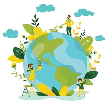 Concetto di ecologia. Le persone si prendono cura dell'ecologia del pianeta. Proteggi la bandiera della natura e dell'ecologia. Giorno della Terra. Globo con alberi, piante e volontari. Illustrazione vettoriale. Vettoriali