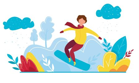 Modern vector illustration of winter season featuring Christmas holidays outdoor activities. Cartoon snowboard rider dressed in winter clothes