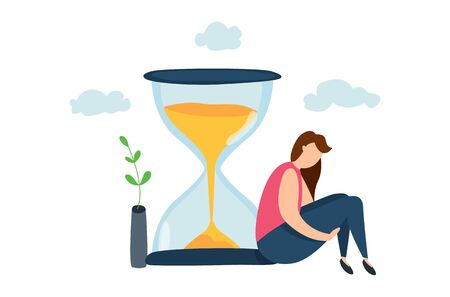Modern vector illustration of sadness woman sitting near hourglass. Concept of lifetime. Cycle of life. Aging. Depression.