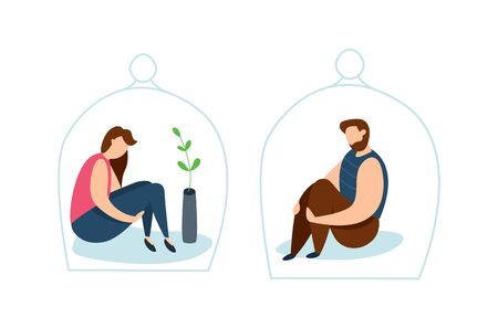 Vector concept of family conflict or relationship problem. Broken marriage. Conflicts between husband and wife. Breaking up people. Family quarrel. Introvert. Çizim