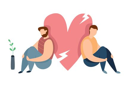 Vector concept of conflict or relationship problem in homosexual couple. Broken marriage. Conflicts between lgbt mans. Breaking up people. Family quarrel.