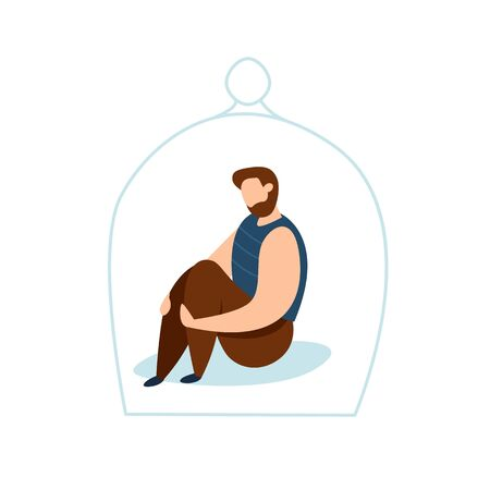 Modern vector illustration of miserable, sad, unhappy man sitting under the glass dome. Concept of depression, trouble and psychological problems. Introversion. Illustration