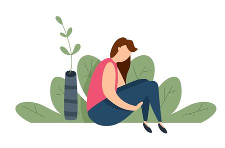 Modern vector illustration of miserable, sad, unhappy woman sitting on the ground. Concept of depression, trouble and psychological problems