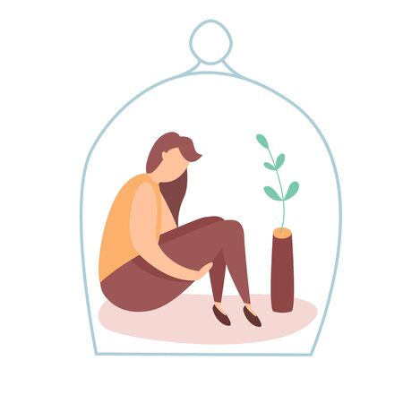 Modern vector illustration of miserable, sad, unhappy woman sitting under the glass dome. Concept of depression, trouble and psychological problems. Introversion.