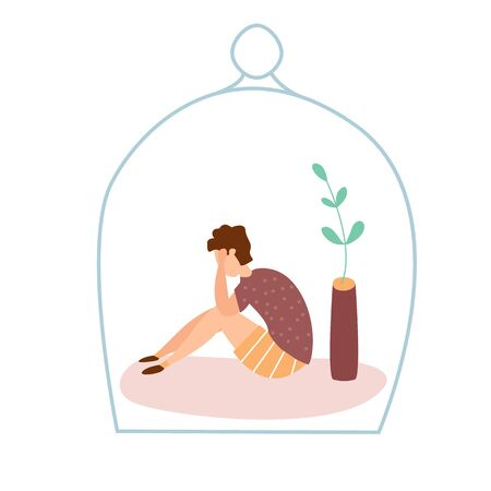 Modern vector illustration of miserable, sad, unhappy kid sitting under the glass dome. Concept of children depression, trouble and psychological problems. Introversion.