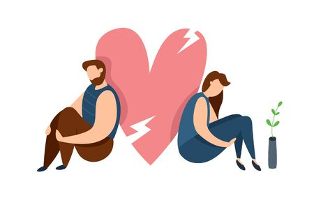 Vector concept of family conflict or relationship problem. Broken marriage. Conflicts between husband and wife. Breaking up people. Family quarrel Çizim