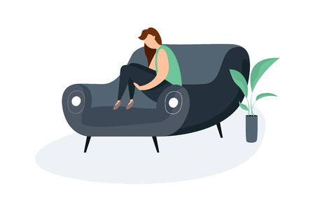 Modern vector illustration of miserable, sad, unhappy man sitting on the couch. Concept of depression, trouble and psychological problems. Introversion