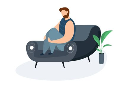 Modern vector illustration of miserable, sad, unhappy man sitting on the couch. Concept of depression, trouble and psychological problems