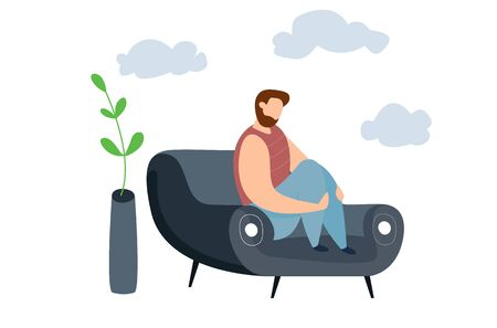 Modern vector illustration of miserable, sad, unhappy man sitting on the couch. Concept of depression, trouble and psychological problems Vettoriali