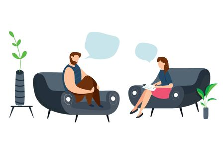 Modern vector illustration of Psychotherapy. Woman psychologist and crying and sad man patient. Sitting on sofa. Mental health concept. Çizim