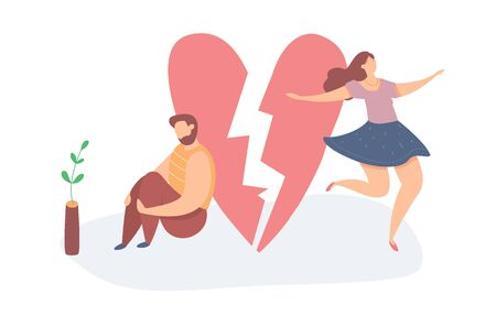 Vector illustration of Heartbroken Couple Parting. Sad man and happy woman. End of love and an abusive relationship